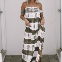 Simply Obsessed Olive Tie Dye Maxi