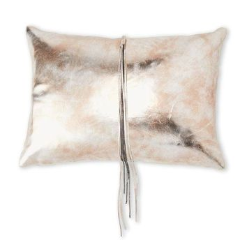 Cloud 9 Luxury Metallic Gold Faux Leather Tassel Pillow