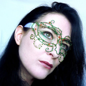 Green and copper vine masquerade mask, handmade
