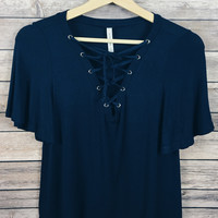 Brooklyn Lace Up Top (Navy)