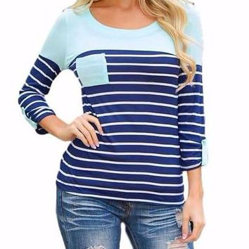 Women's Mint/Navy Contrast Striped 3/4 Sleeve T-Shirt with Pocket Detail