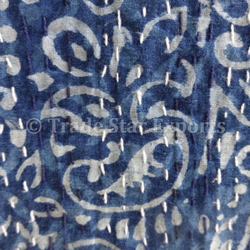 Indigo color Hand Block Printed Kantha Quilt, Patchwork Cotton Bedspread, Queen Size Kantha Throw, Indigo Blue , Made By Artisians Of India
