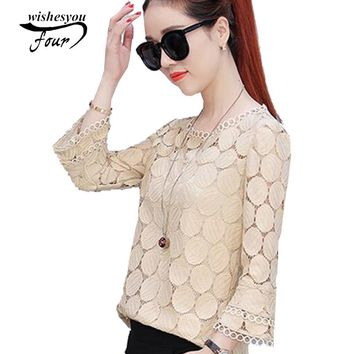 New Fashion Style lace Women Blouses casual flare Sleeve solid ciffion Tops Plus Size women Shirt blusas 905E 30