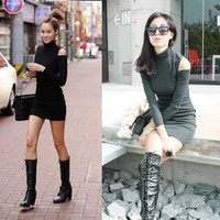 Women's Long Sleeve Off Shoulder Bodycon Slim High Neck Sexy Mini Skirt Dress A_L = 1658531524
