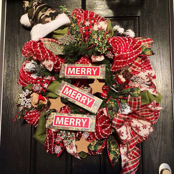Camo deco mesh wreath, Hunting Christmas wreath, Camo Christmas mesh wreath, Hunter's wreath,holiday mesh wreath,front door wreath, Camo dec