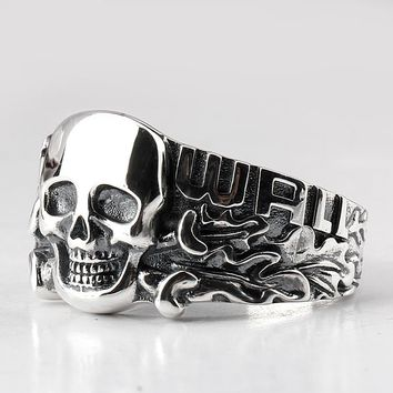 Real 925 Sterling Silver Skull Ring Skeleton European Punk Cool Street Style for Men Fashion Jewelry