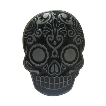 Black flower skull belt buckles metal for Clothing