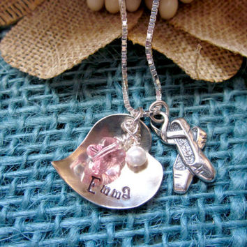 Hand Stamped Ballet Recital Gift, Girls Personalized Necklace, Sterling Silver Charms, Ballerina Necklace Childrens Jewelry