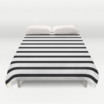 Black Stripe Pattern Duvet Cover by RexLambo | Society6