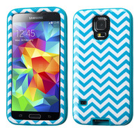 MYBAT VERGE Hybrid Case for Samsung Galaxy S5 - Blue Chevron/Teal
