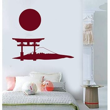 Vinyl Wall Decal Japanese Gate Mountain Sun Art Japan Stickers Murals Unique Gift (ig4872)
