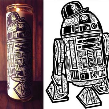 R2D2, Star Wars Rouge One, Star Wars Print, Star Wars, Prayer Candle, Gift Idea, Good Vibes Only, Gifts for Him, Best Scented Candles