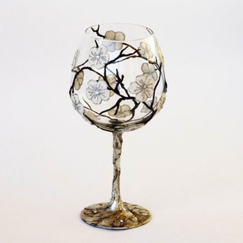 Baloon Wine Glass  Hand Painted Tea Light Candle by NevenaArtGlass
