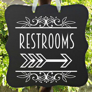 Restroom Sign, Restroom Decor, Bathroom Sign, Directional Sign, Wedding Restrooms, Restaurant Sign, Salon Sign, Event Sign, Wood Sign