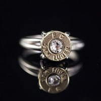 "Ammo ring-Sterling Silver 9mm Bullet Ring-""Bullet Lady""-Size 7or 8 - Free Shipping"