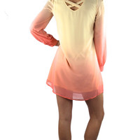 Ombre Strappy Back Tunic Dress - Coral