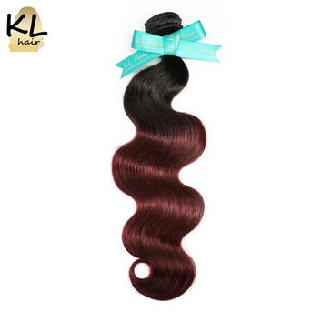 KL Hair Brazilian Body Wave Ombre Hair Bundles T1B/99J Color Hair 100% Human Hair Weaving No Remy Hair Extensions Free Shipping