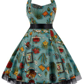 Atomic Blue Green Wild West Swing Dress