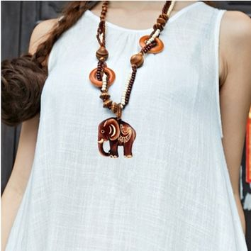 Boho Jewelry Women  Ethnic Style Long Hand Made Bead Wood Elephant Pendant Necklace