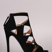 Liliana Suede Cutout Peep Toe Stiletto Heel