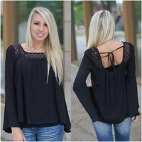 Secret Admirer Top (Black) - Piace Boutique