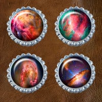 Outer Space Nebula's - Bottle Cap Magnets, Kitchen Magnets, Refrigerator Magnets, Magnet Set, Kitchen Decor - 1.0 inch Size