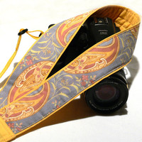 DSLR Camera Strap. Paisley Camera Strap. Gray Peach Yellow Camera Strap. Women Accessories
