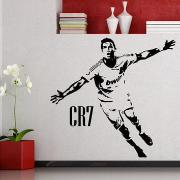 Cristiano Ronaldo Football Player Sticker Sports Soccer Decal Helmets Kids Room Name Posters Vinyl Wall Decals Football Sticker