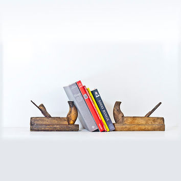 Book Ends from Antique Wood Plane, Hand Tool, Antique Carpentry Tools, Woodworking Wood Plane, Book Ends Industrial Home Decor