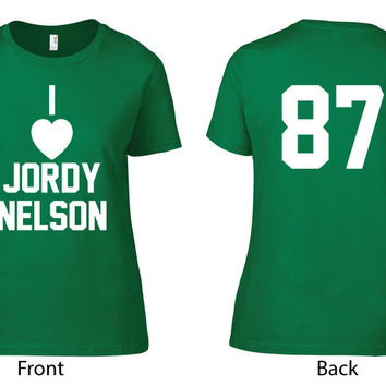 Green Bay Packers Clothing (Unofficial) - I Heart Jordy Nelson Crew Neck - Ladies