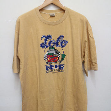 Vintage KLIBAN B.Kliban Cat Loco Beer Guam's Worst Crazy Shirt T Shirt Light Brown Color Size Xl