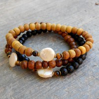 Pure, Genuine Sandalwood, Ebony, and Freshwater Pearl Guru Bead Mala Bracelet Set