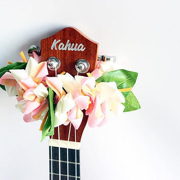 ribbon lei for ukulele (pink crocus) / ukulele accessories/ ukulele decor / mandolin /hawaiian lei /organdie ribbon / crocus