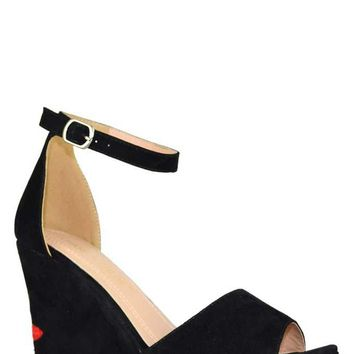 Smell The Roses Wedges - Black