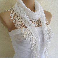 Necklace scarves, Traditional Turkish-style, Fashion scarf, Lace scarf, White scarf, 2013 Trends