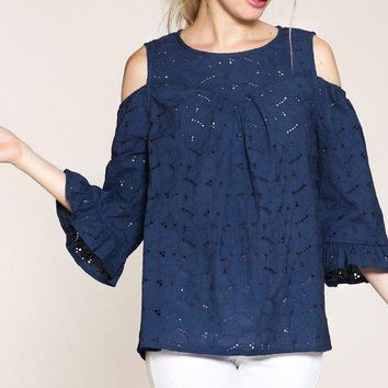 Blue Cold Shoulder Top