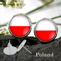 Flag of Poland Earring - Poland national flag earring Silver Plated Stud Earrings 12 or 10 mm dia, Patriotic GIFTS