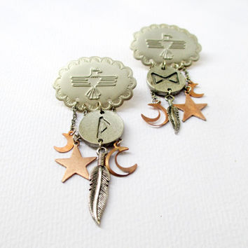 Thunderbird & Rune Talisman Chandelier Earrings. Cosmic Statement Jewelry