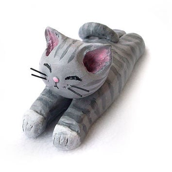 Cat Figurine, Grey Tabby Cat, Handmade Polymer Clay OOAK Cat Sculpture, Cute Cat Ornament
