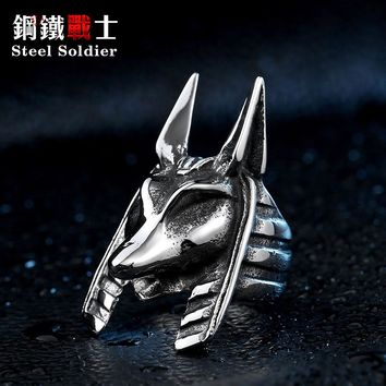 Steel soldier Anubis egyptian stainless steel men jewelry punk fashion personality titanium amulet viking ring