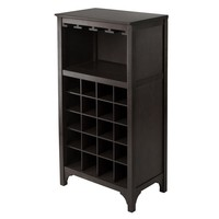 Winsome Woods Ancona Modular 20-Bottle Wine Cabinet with Glass Rack