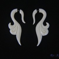 Tribal Style Fake Gauge Ear Hangers, Bone Carving Earrings FGB0017