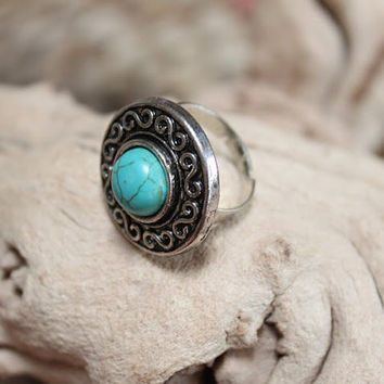 Stunning Tibetan silver ring howlite cabochon turquoise stones/adjustable size/ethnic/vintage/bohemian/Upcycled