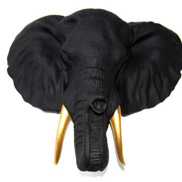 Black Elephant Head Wall Mount with Gold Tusks Wall Mount - Faux Taxidermy EL1708