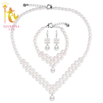 [NYMPH] Wedding Pearl Jewelry Set Pearl Jewelry Natural Freshwater Pearl Necklace Bracelet  Fine Jewerly For Women 090XLEDDZ