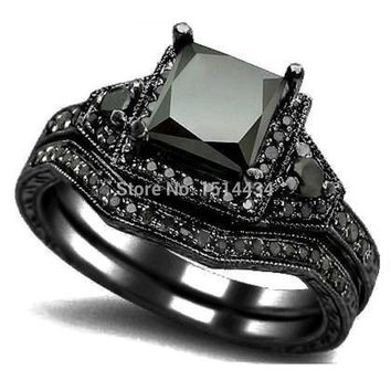 SZ 4-12 Black Rhodium Princess Cut Onyx Wedding Engagement Ring Set Propose Statement Bridal Halo Cocktail Promise Anniversary