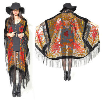 Sheer Silk Burnout Velvet Fringe Hippie Boho Gypsy Cape Festival Kimono Jacket