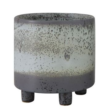 """Glazed Ceramic Planter Footed Pot in Ombre Grey - 6"""" Tall x 6"""" Wide"""
