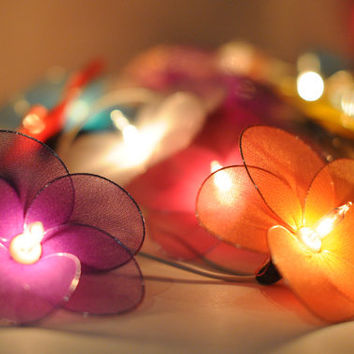 Colored String Lights For Bedroom : 20 flower handmade in mix color shade from cottonlight on Etsy
