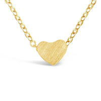 Gold Tiny Heart Pendant Necklace for Women